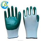 Nylon Nylon Liner Nitrile Coated Slip Resistant Green Garden Gloves
