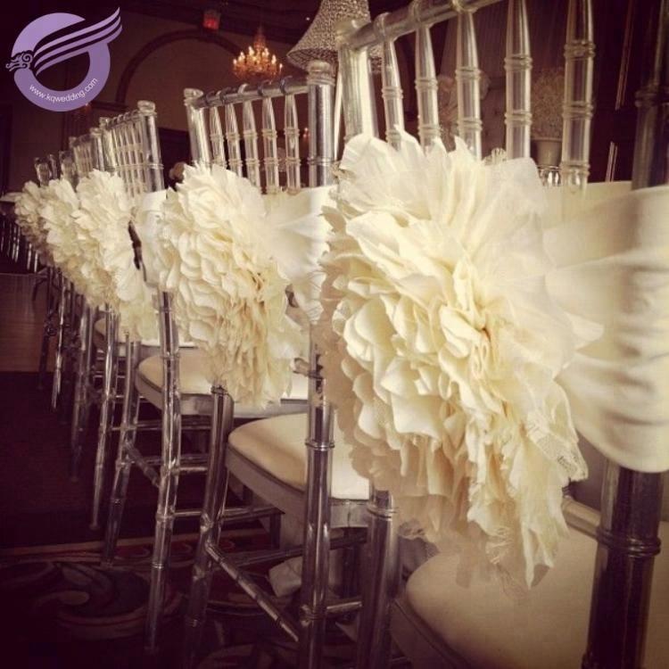 FQ00058 Weddings decoration flower chair covers for plastic chiavari chairs