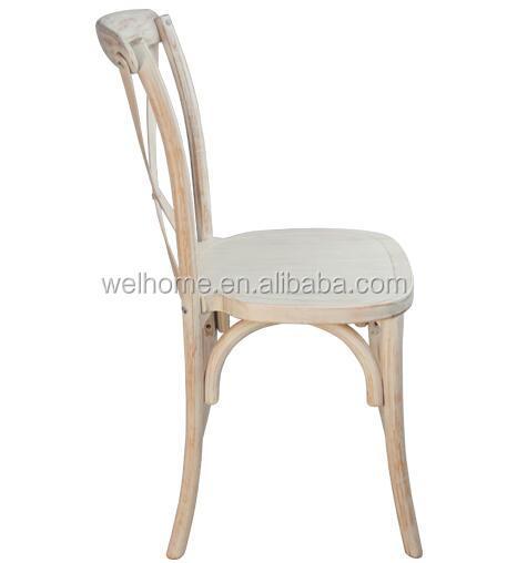 Stackable Vineyard Antique wood vintage rustic wedding cross back chair