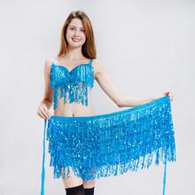 Женский бюстгальтер для танца живота и шарф на бедрах, костюм для выступлений, блестящий наряд для вечеринки, карнавальный наряд, одежда для...(Китай)