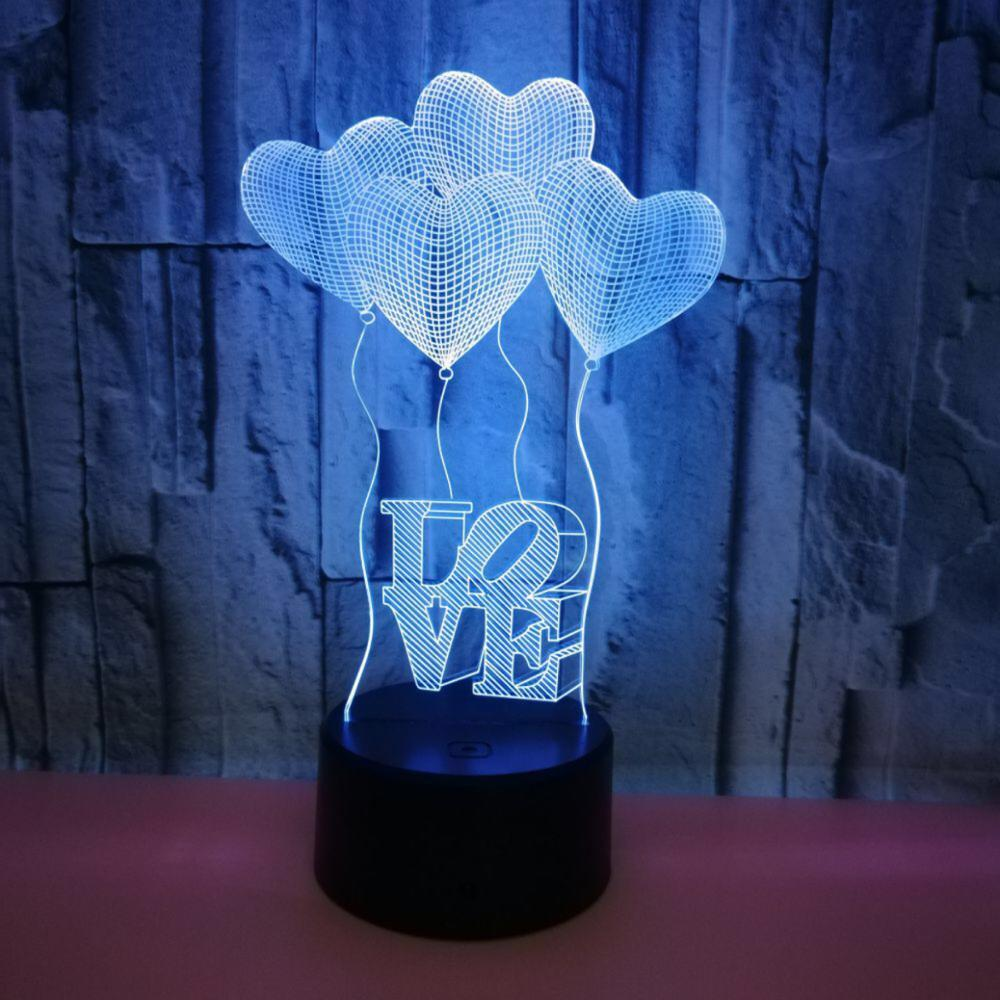 Heart Shape Touch Button 7 Colors Change Optical Illusion Lamp 3D LED Desk Night Light for Girls' Bedroom