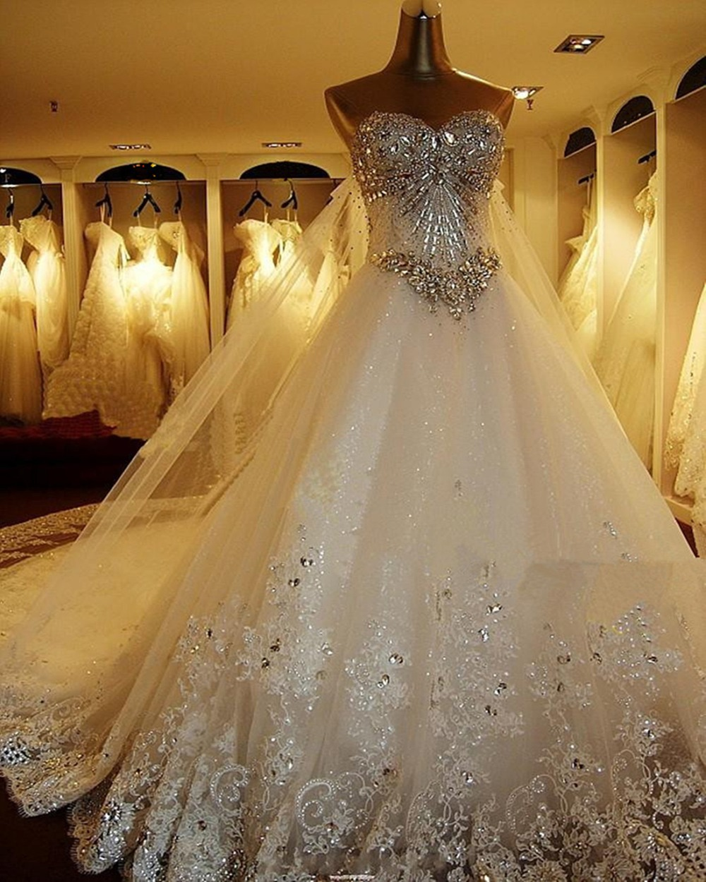 2016 New Bandage Tube Top Crystal Luxury Wedding Dress 2016 Bridal gown wedding dresses vestido de