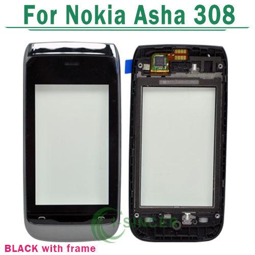 Черный мобильный телефон с сенсорным замена панели планшета для Nokia Asha 308 сенсорный экран с рамкой