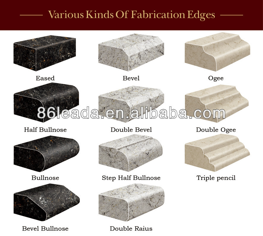 Flat Stone Edging: Flat Edge / Eased Edge Countertop Quartz Stone Bathroom