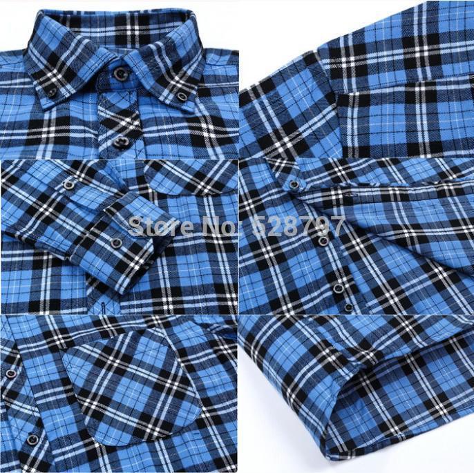 T1210-3 новый бренд мужской фланелевую рубашку высокое качество тонкий подходят рубашки с длинным рукавом для мужчин осень / зима свободного покроя плед рубашка