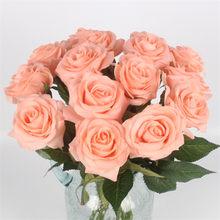 Бесплатная доставка (11 шт./лот) свежие розы Искусственные цветы настоящие на ощупь розы, украшения для дома для свадьбы или дня рождения(Китай)