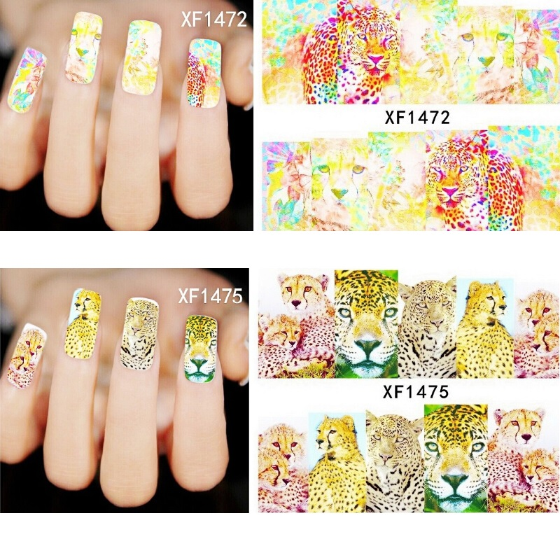 5pcs Leopard Nails Stickers Water stickers for nails gel polish nail strips pegatinas de unas guia