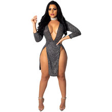 Сексуальное облегающее мини-платье с v-образным вырезом и рукавом 3/4, горячие женские вечерние платья с разрезом спереди для ночного клуба, н...(Китай)