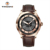 Stainless steel case time zone Soprod watch with genuine leather strap watch