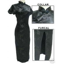 Новинка, черное китайское женское традиционное платье для выпускного вечера, длинное стильное платье Ципао, костюм с лямкой на шее, большие ...(Китай)