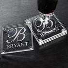 Wedding Favors Return Gift Personalized Clear Glass Coaster