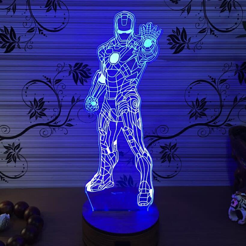 3d iron man light batman light marvel lampe home bedroom living room bar atmosphere decoration. Black Bedroom Furniture Sets. Home Design Ideas