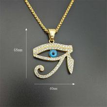 Античный Египетский Глаз Гора, ожерелье с кулоном для женщин и мужчин, золотой цвет, круглая бижутерия из нержавеющей стали, Прямая поставка(Китай)