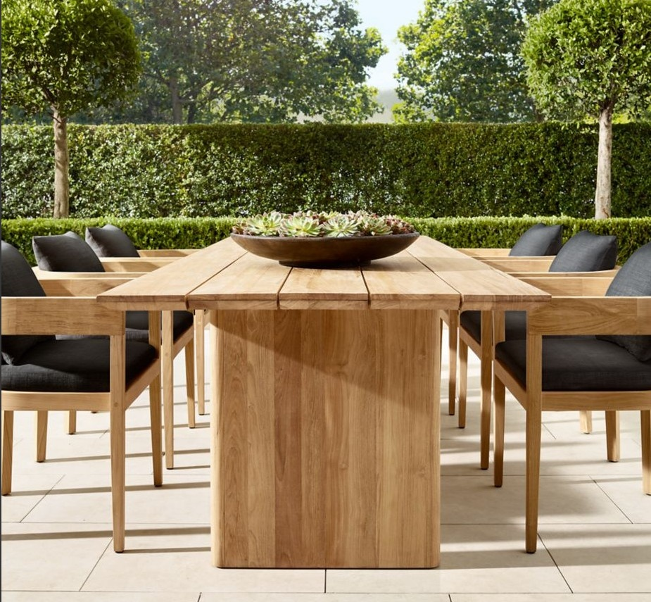 Customize 5 Stars Hotel Outdoor Luxury Teak Dining Set Solid Wood Big Size Table Rattan Chairs All Weather View All Weather Teak Dining Set Momoda Product Details From Foshan Momoda Furnishing Trade
