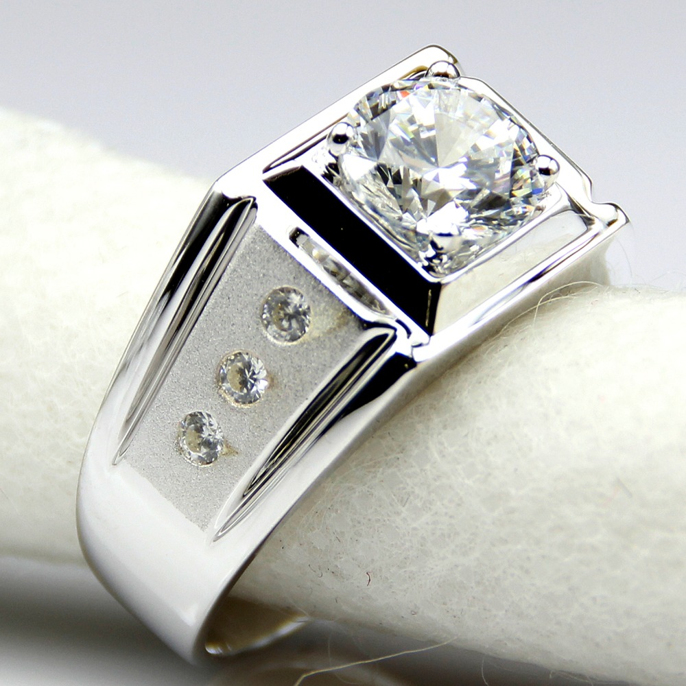 diamond men ring center 2 carat synthetic diamond engagement ring for men sterling silver white. Black Bedroom Furniture Sets. Home Design Ideas