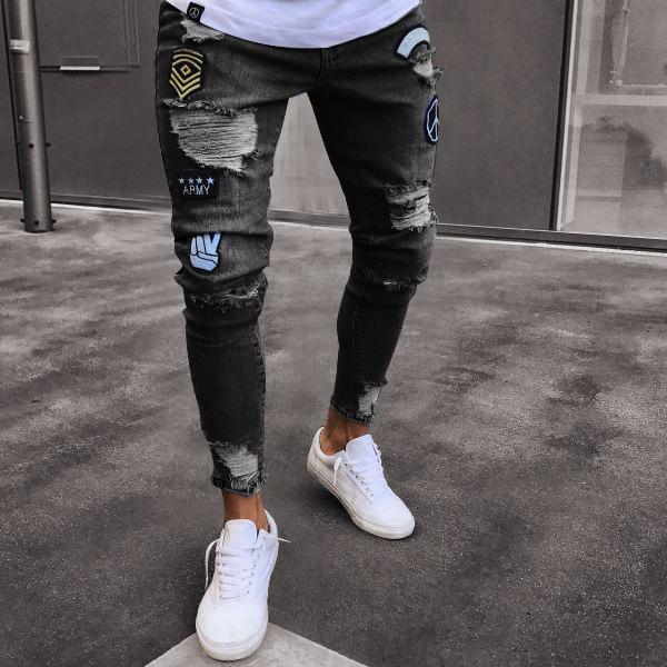 Pantalones Vaqueros Transpirables De Cintura Alta Para Hombre Vaqueros Con Agujero Triturado Para Hombre Pantalones Ajustados Rasgados Por La Rodilla Ropa Desgastada Rota Buy Pantalones Vaqueros Desgastados Rotos Para Hombre Jeans Para Hombre