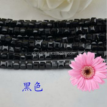 black glass beads cube crystal beads,wholesales beads