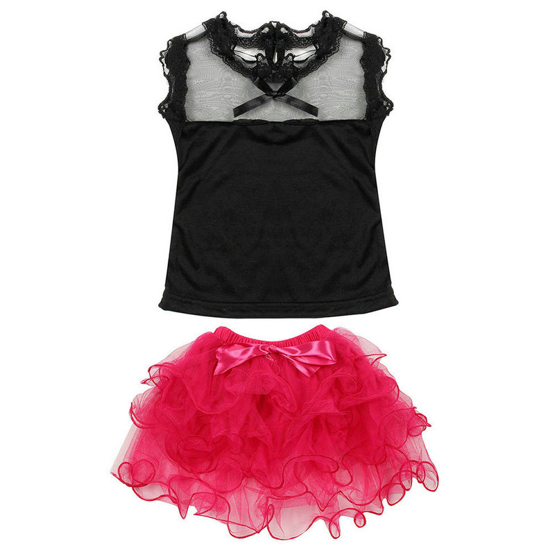 2Pcs Baby Girls Sets Sweet Lace Top Skirt Toddler Tutu Bubble Tulle Skirts
