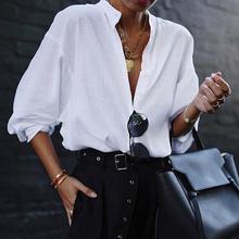 bf5c4c90e85 VONDA Fashion Women Blouses 2019 Summer Office Lady White Shirts Lantern Sleeve  Buttons Deep V Neck