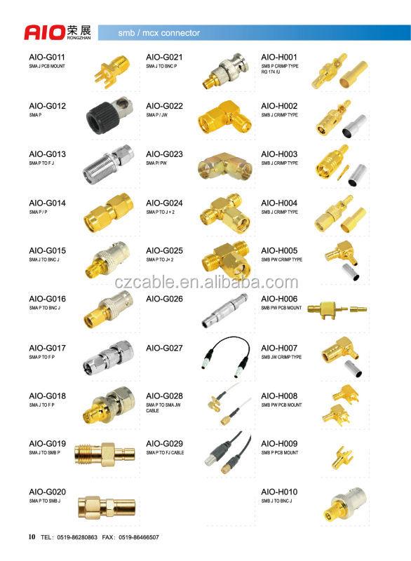 Gold Plated 50 Ohm Straight Crimp Type Sma Male Plug Micro