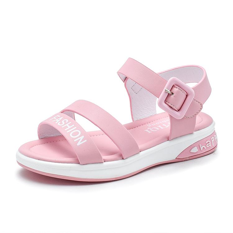 Розовые школьные сандалии на плоской подошве для девочек