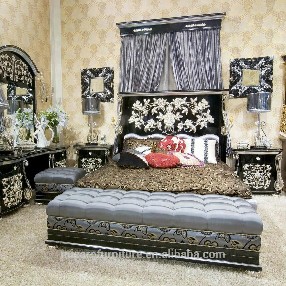 Latest Antique Royal Style Black Color Pakistan Luxury Wood Double Bed Designs With Silver Foil View Wood Double Bed Designs Micaro Product Details From Foshan Micaro Furniture And Decoration Co Ltd On