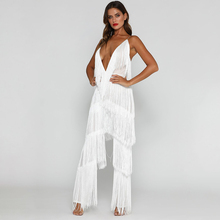 8635eb9147ef NATTEMAID Sleeveless Backless V Neck Halter Bandage Jumpsuit Sexy Club  Casual White Tassel Rompers Womens Jumpsuit
