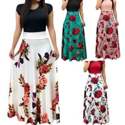 Women Floral Maxi Dress Prom Evening Party Dresses Women Summer Beach Casual Long Dresses Women