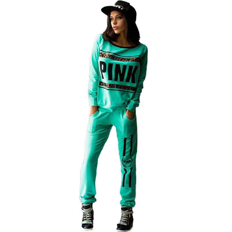 309f75a2 Print Leopard Letter Love Pink Jogging Suits for Women Brand 2016 Tracksuit  Womens Sports 2pcs Tracksuits