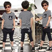 2015 Kids Boys Short Sleeve Navy Striped Tops Marine Half Pant 2Pcs Set Clothes