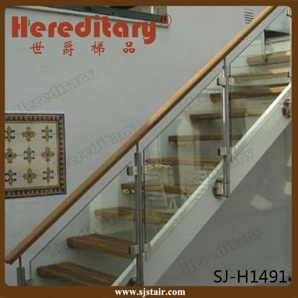 Stainless Steel Railings Glass Handrails Installation: Stainless Steel Glass Stair Railing Wall Mounted / Side