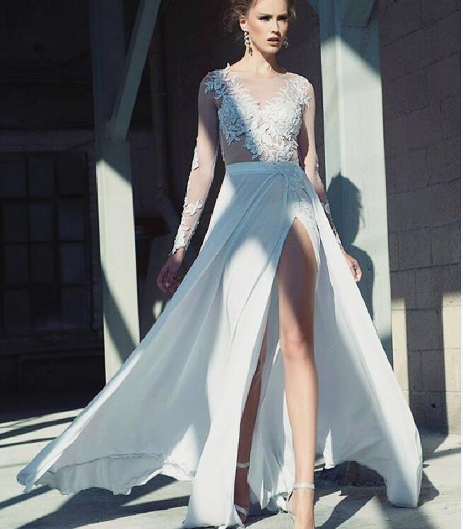 Robe De Soriee New Simple Wedding Dress Full Sleeve Lace: Sexy Robe De Soiree Long Wedding Dress 2016 New Graceful