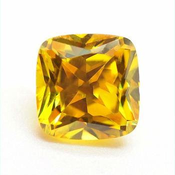 Yellow color Square shape precious loose stone zirconia gems