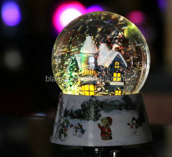 Christmas snow globe with led light snow globes water ball