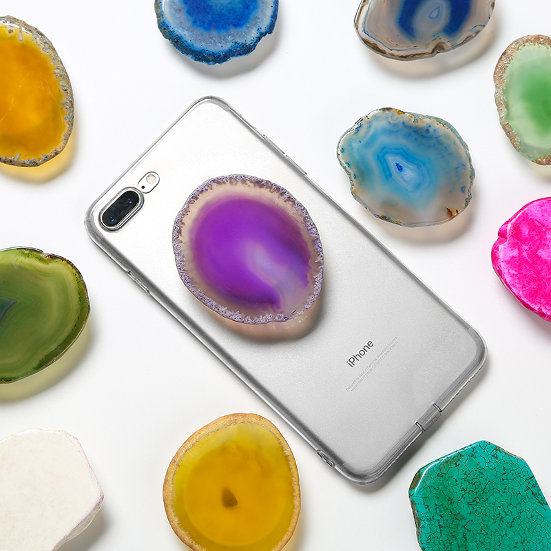 Agate crystal,purple Agate Stone Geode phone socket Cap Crystal phone stand Cap Phone grip Cap