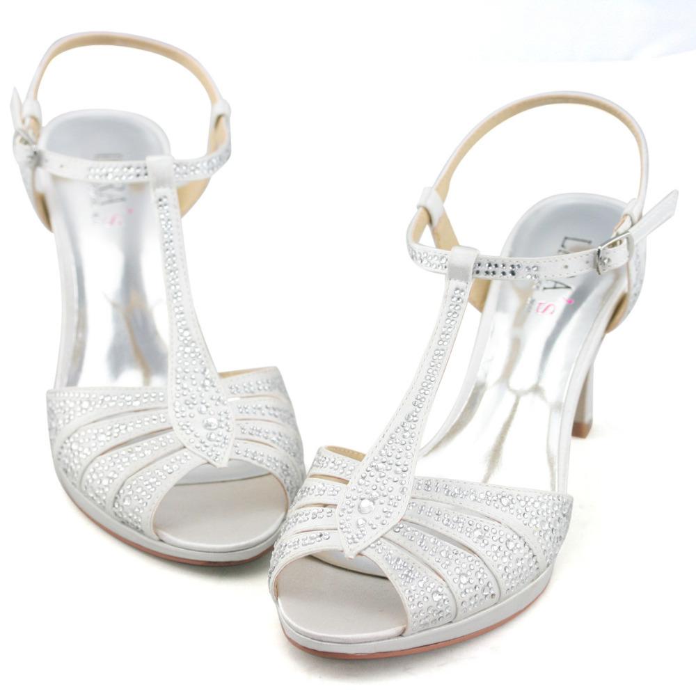 dd45b8e0ade268 LARA  39 s wedding sandals peep toe gladiator white high heels heeled prom  shoes