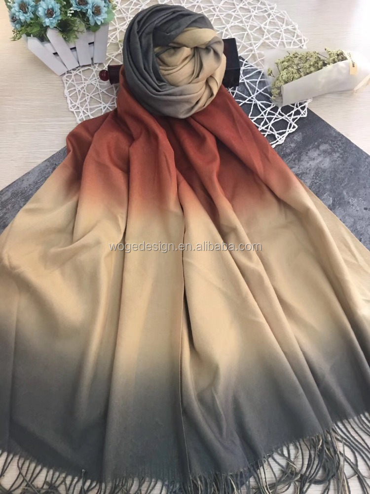 Modish winter high quality twill beautiful feminine muffler scarf stole hand painting wholesale viscose new rainbow pashmina