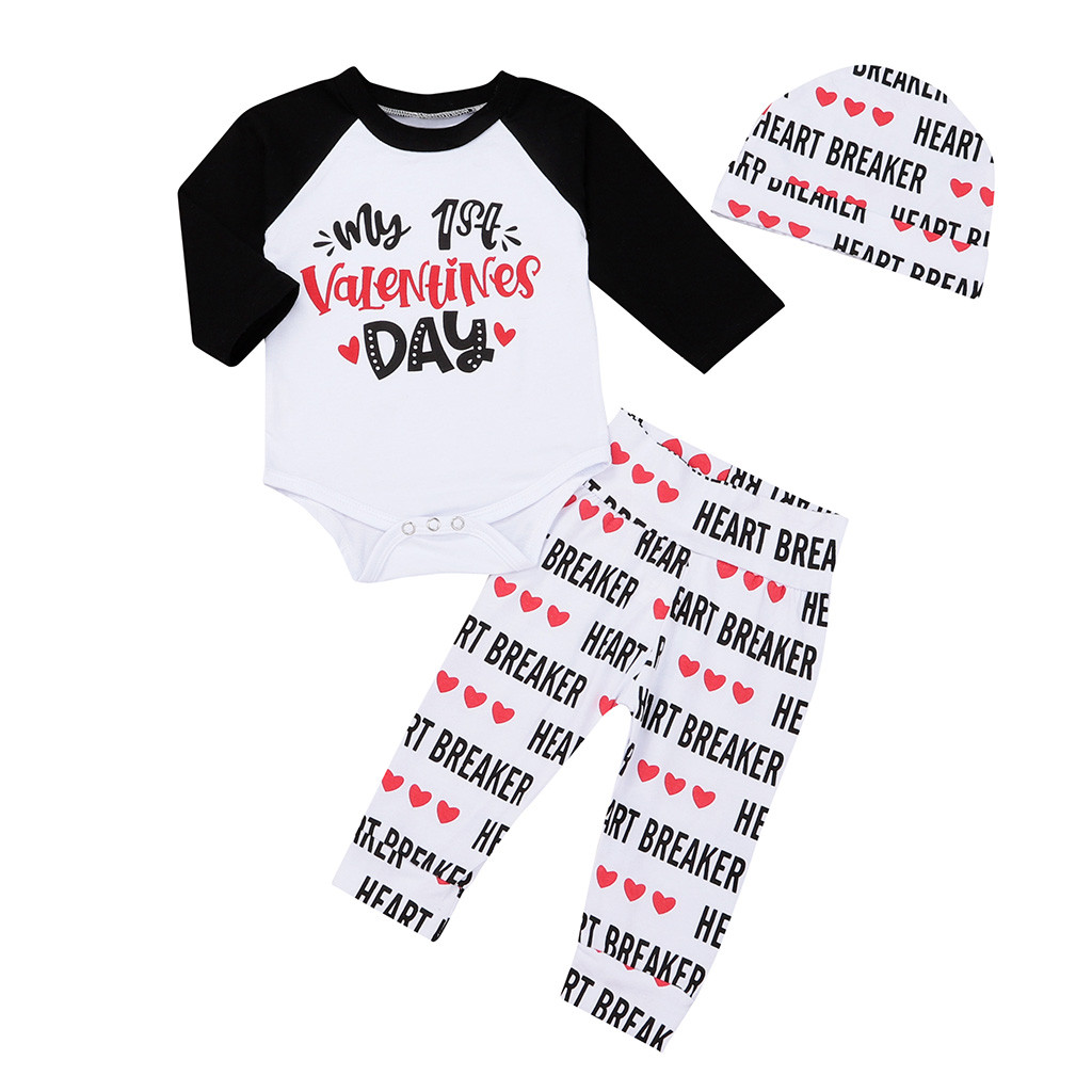 30a1a512ae6fc New clothing boy girls clothes my 1st Valentine Newborn Infant Baby Boy  Girl Letter Romper Tops Pants Hat Set Valentine Outfits