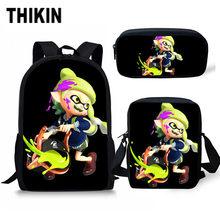 Комплект школьных сумок с принтом «THIKIN Splatoon 2» для студентов/3 шт. рюкзак для мальчиков, популярный игровой набор для книг, детский блокнот, с...(Китай)
