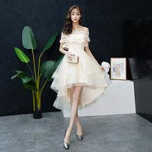 Шампанское с плеча кружева Выпускные платья высокого и низкого чай длина формальное платье Китайский свадебный тост платье Размер XS-3XL(Китай)