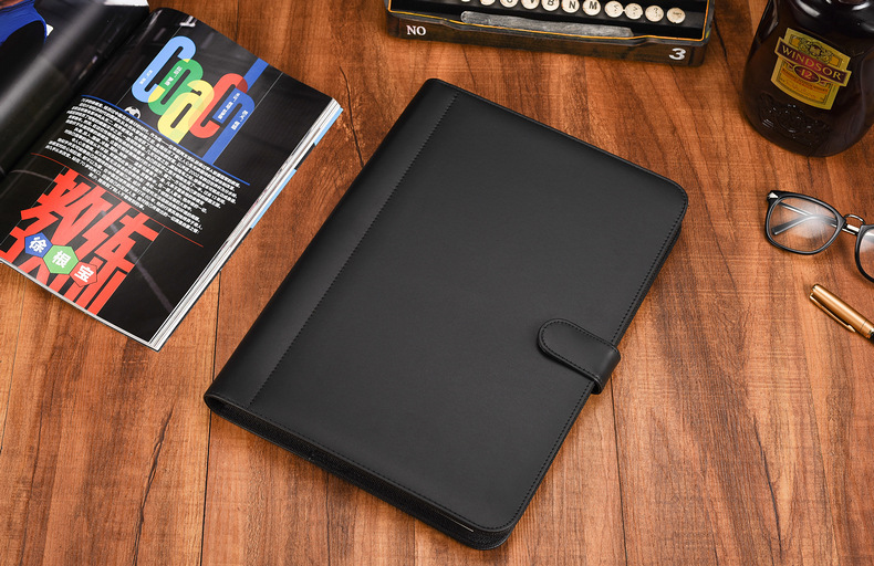 Customize leather zipper portfolio with calculator & pad