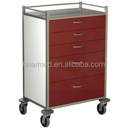stainless steel hospital medical emergency trolley equipment