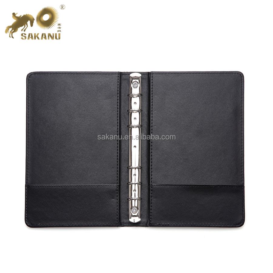 colored Pu Leather 6 Metal Ring Binders Files Folder A5 Travel Portfolios