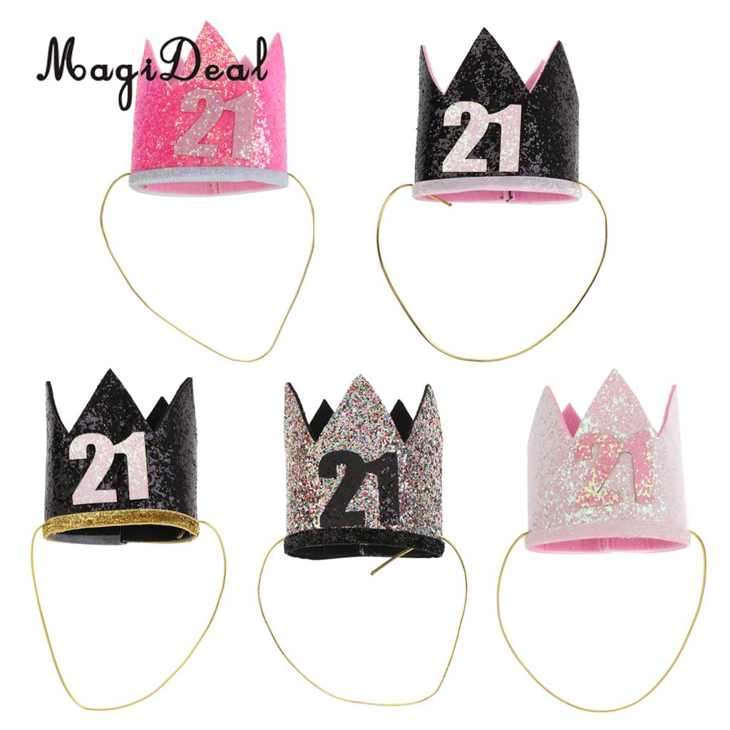 MagiDeal Happy 21st Birthday Crown Hat Princess King Adult Turning 21 Party Decorations Cap