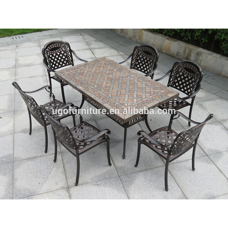 all weather outdoor furniture patio cast aluminum ceramic tile table with 6 seater buy outdoor furniture patio cast aluminum outdoor furniture patio
