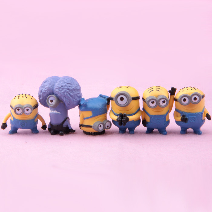 Best Quality 6PCS/SEt kids Toys MINIONS TOYS doll lps anime toy Environmental Protection Harmless Home decoration MagicToys 0007