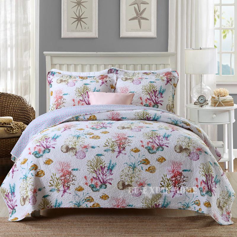 Удобное покрывало для кровати с принтом, дешевое хлопковое стеганое покрывало