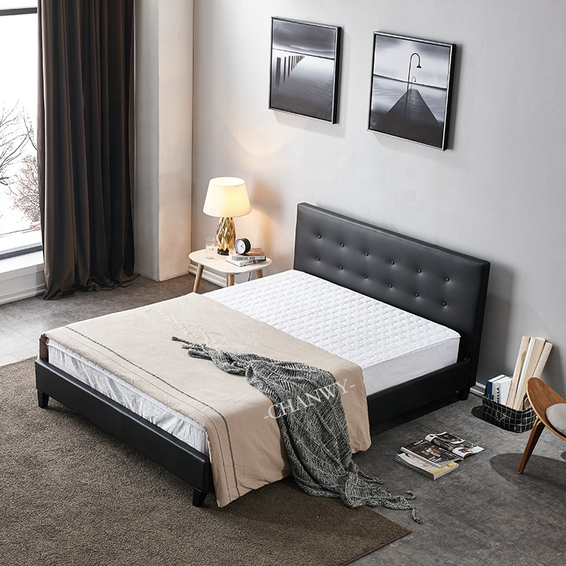 modern cheap price Ottoman Square Stitched Double PU Leather Bed black colour with button