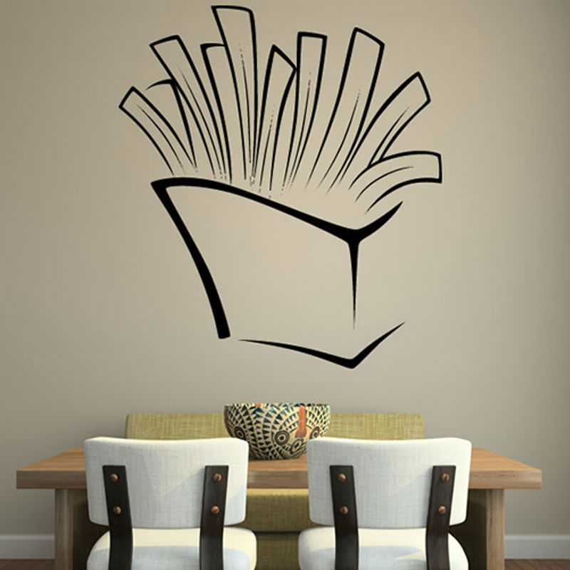 2015 Self Adhesive French Fries Wall Sticker Removable PVC Waterproof Home Decor For Dining Room