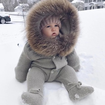 Winter Clothing Plain Big Real Raccoon Fur Collar Kids Romper / Custom Warm Hooded Knitted Baby Romper Wholesale Baby Clothes